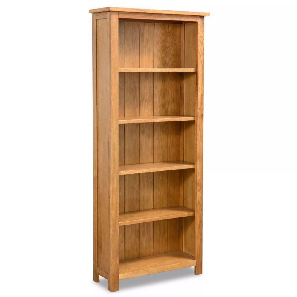 Helloshop26 Étagère armoire meuble design bibliothèque 140 cm bois de chêne massif 2702021/2