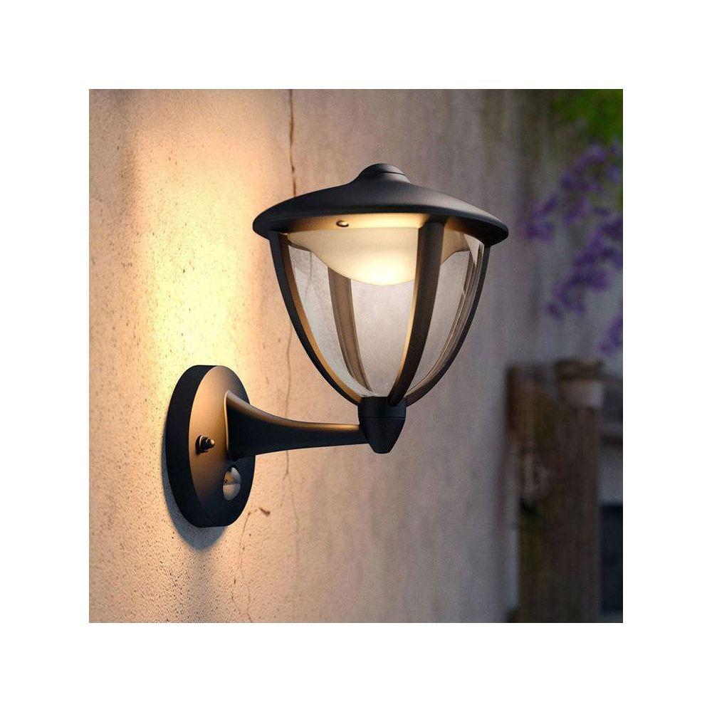Philips ROBIN - Applique d'extérieur Montante LED avec Détecteur Noir H26cm - Luminaire d'extérieur Philips designé par
