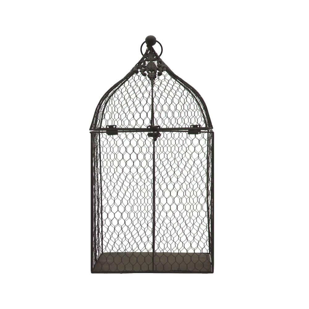 L'Originale Deco Cage à Oiseaux de Décoration Grillagée Marron 53 cm
