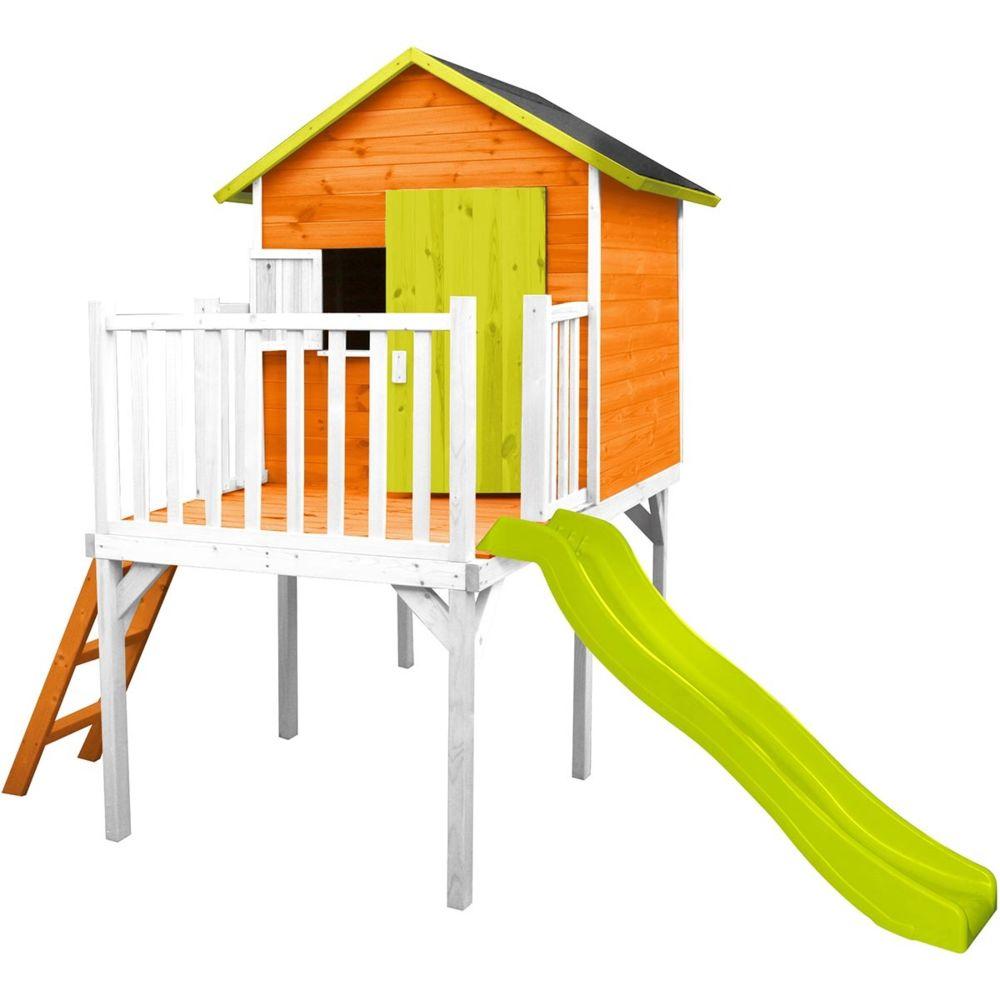 Soulet Cabane en bois pour enfant pilotis et toboggan - Charlotte