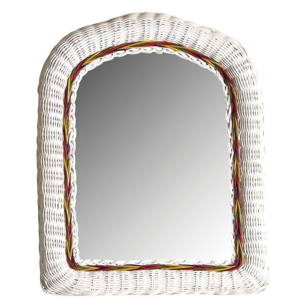 Aubry Gaspard Miroir en moelle de rotin laqué blanc