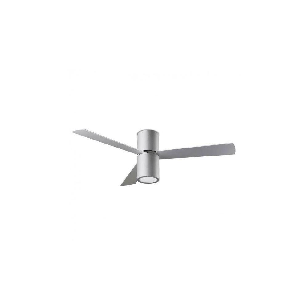 Leds C4 Plafonnier-ventilateur Formentera, en aluminium, acrylique et contrepalqué, gris