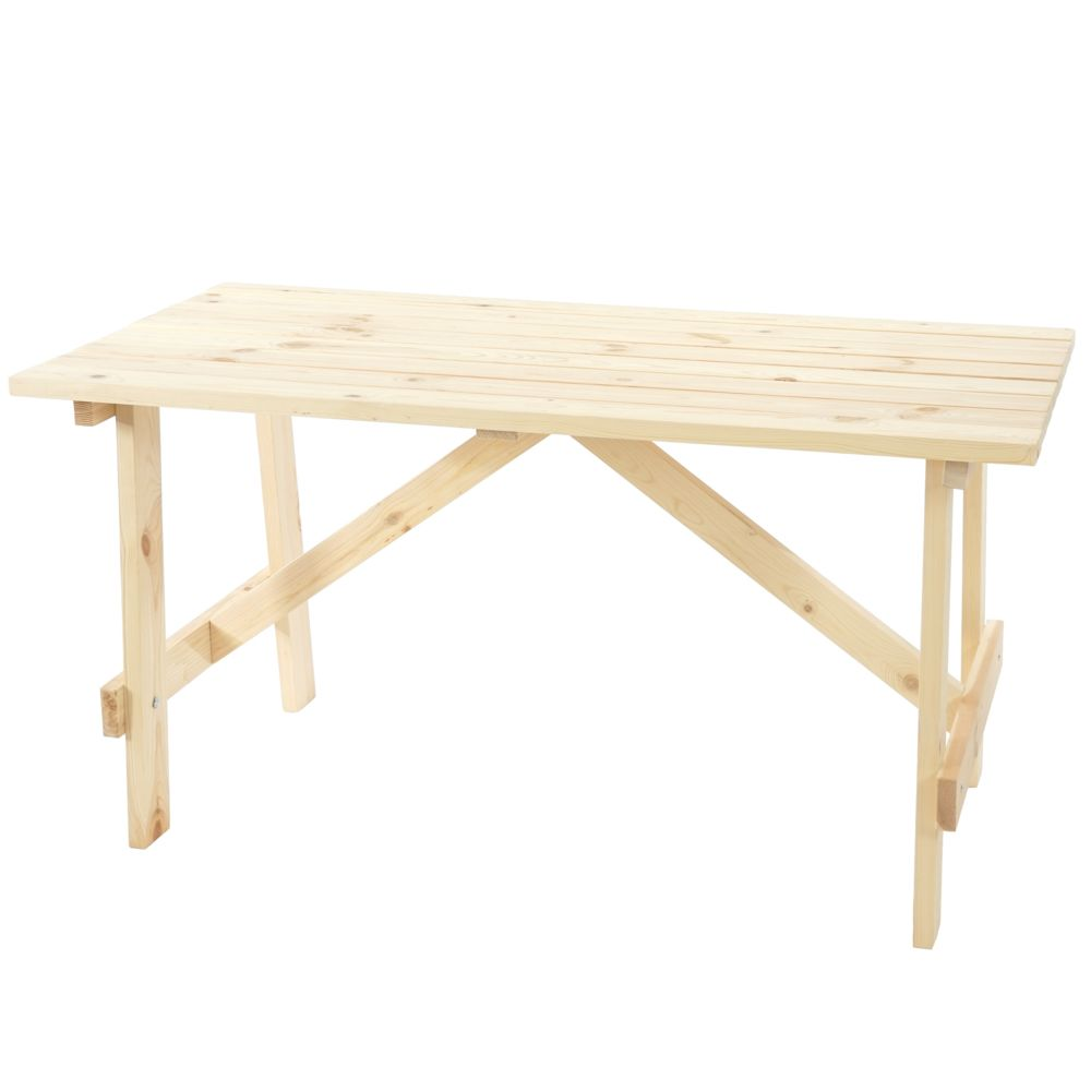 Mendler Table de jardin Oslo, table en bois, qualité de brasserie, 148x70 cm bois massif ~ nature