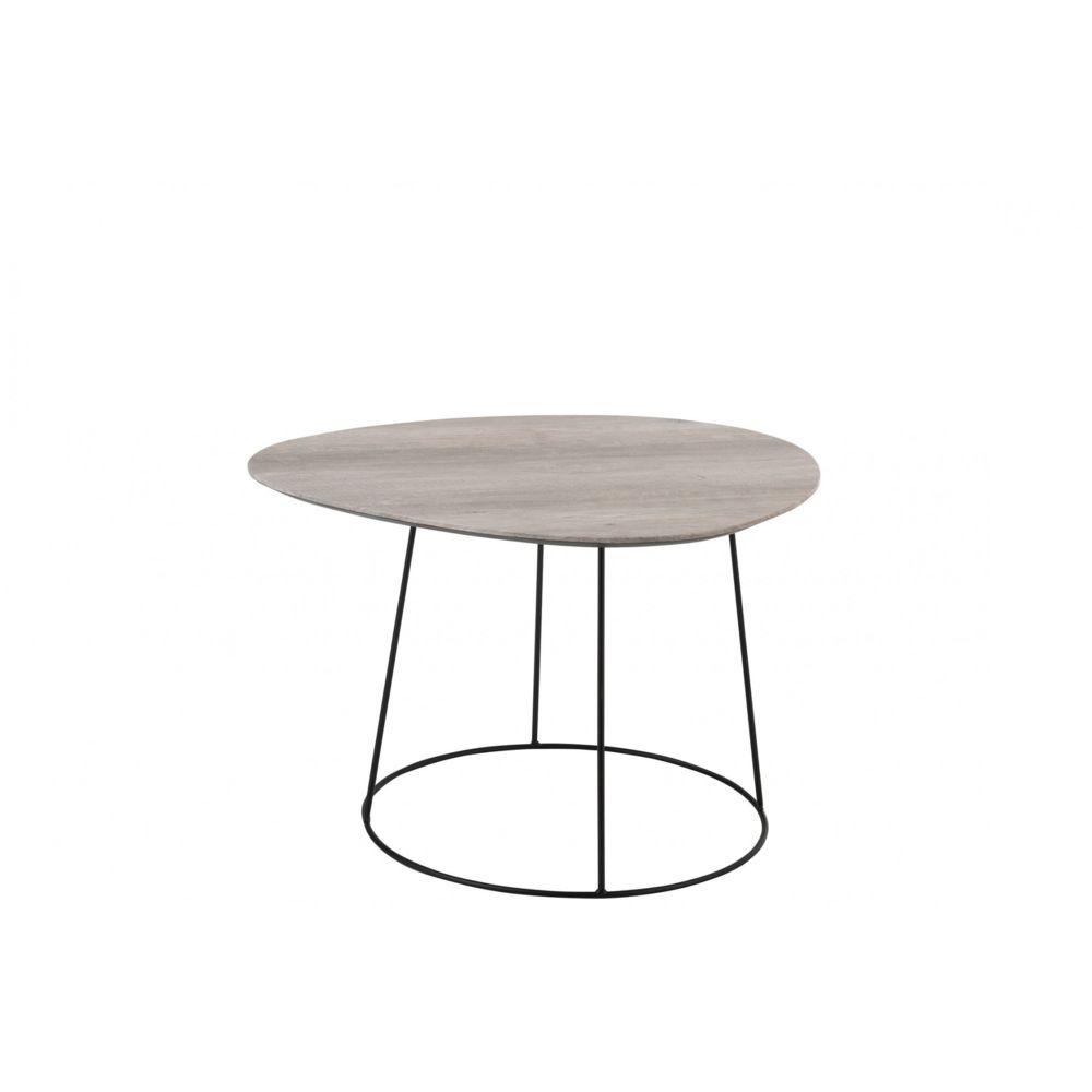 HELLIN Table basse ovale en bois et métal - PEARL