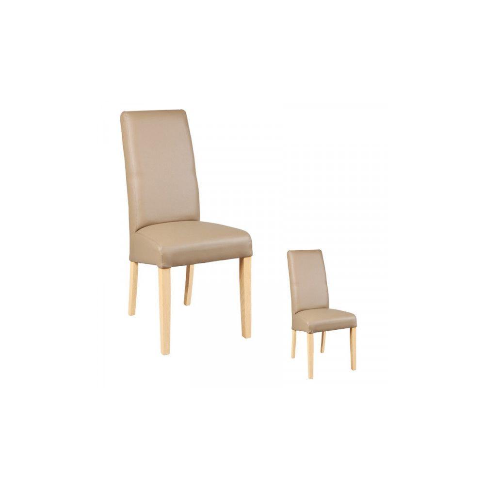 Dansmamaison Duo de chaises Similicuir Taupe - KABUN - L 47 x l 52 x H 97 cm