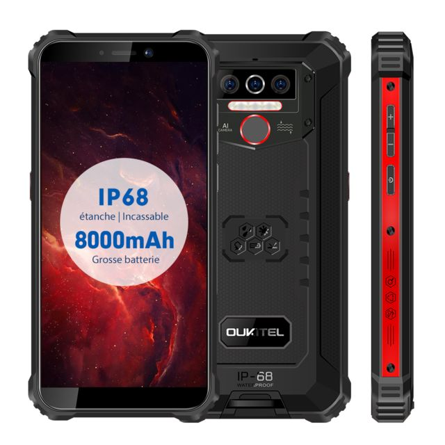 "Blackview -martphone 4G IP68 Etanche OUKITEL WP5 - 5.5"""" Android 9.0 - Batterie 8000mAh -4Go + 32 Go Incassable - Noir Blackview  - Smartphone Android"