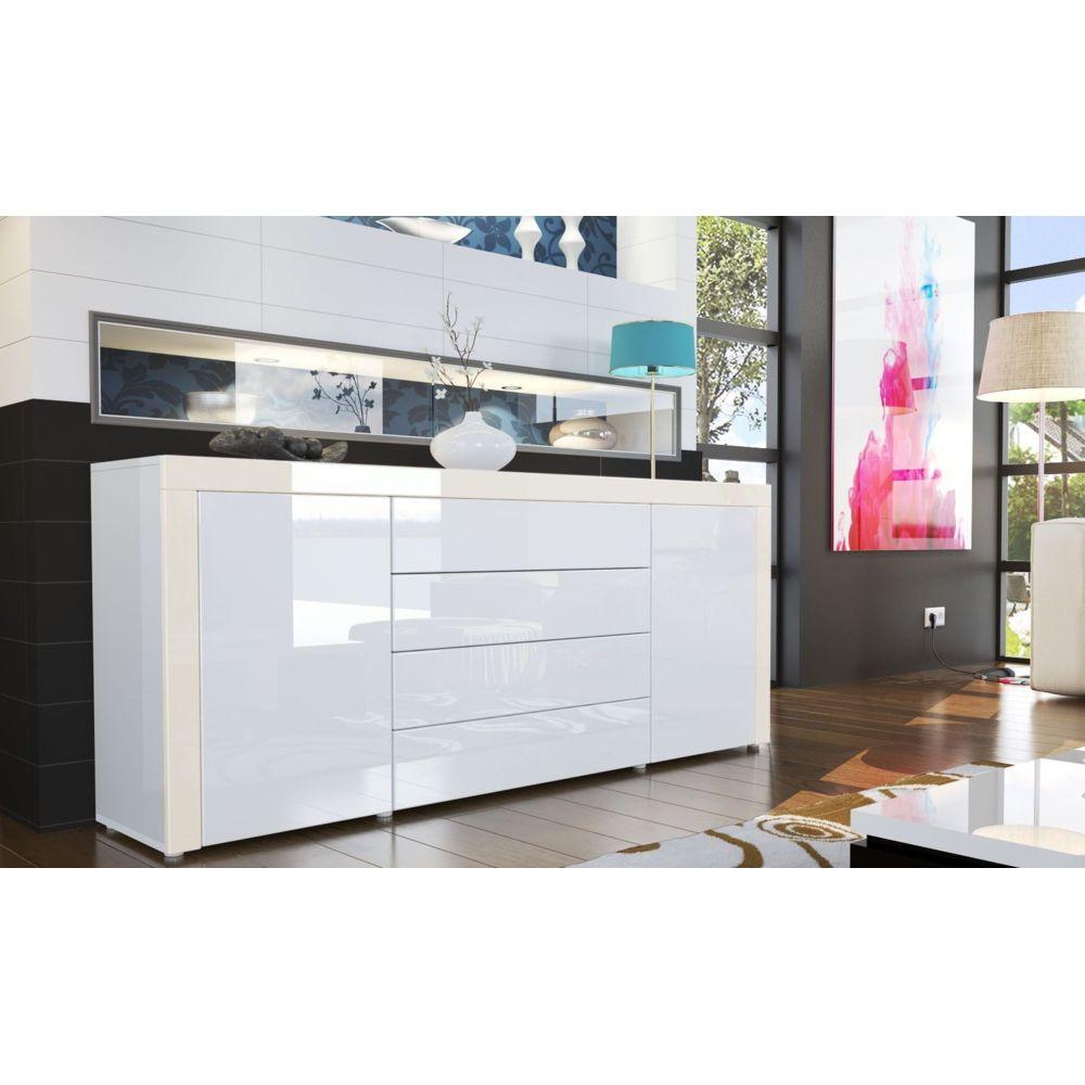Mpc Buffet design laqué blanc/blanc/crème