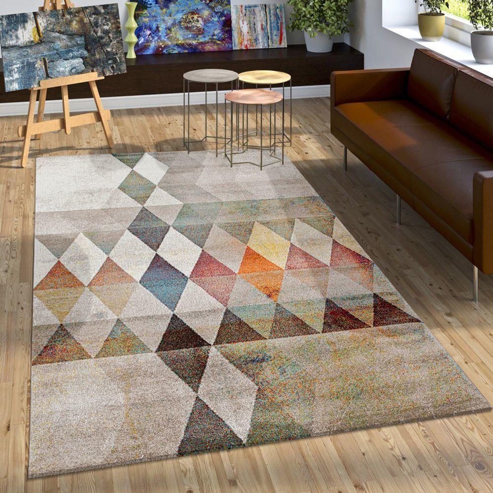 Tendance Kurzflor Tapis Designer Tapis Moderne Gris Ivoire 160x230cm