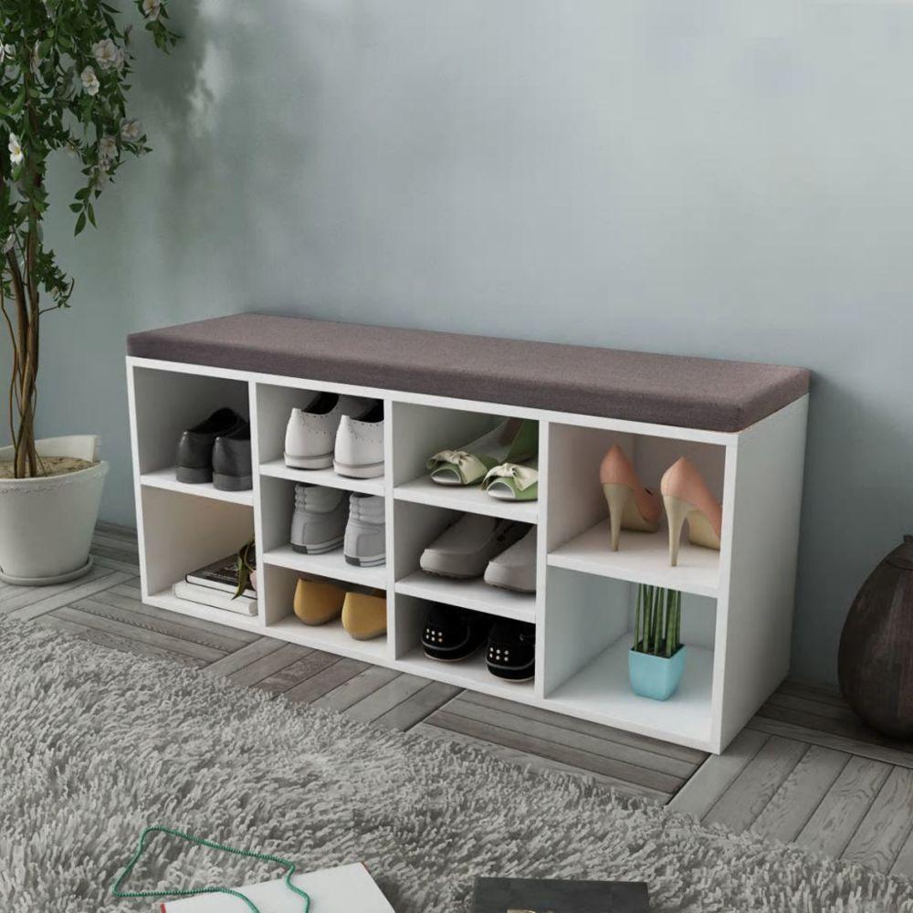 Vidaxl Banc de rangement de chaussures avec 10 compartiments Blanc | Blanc