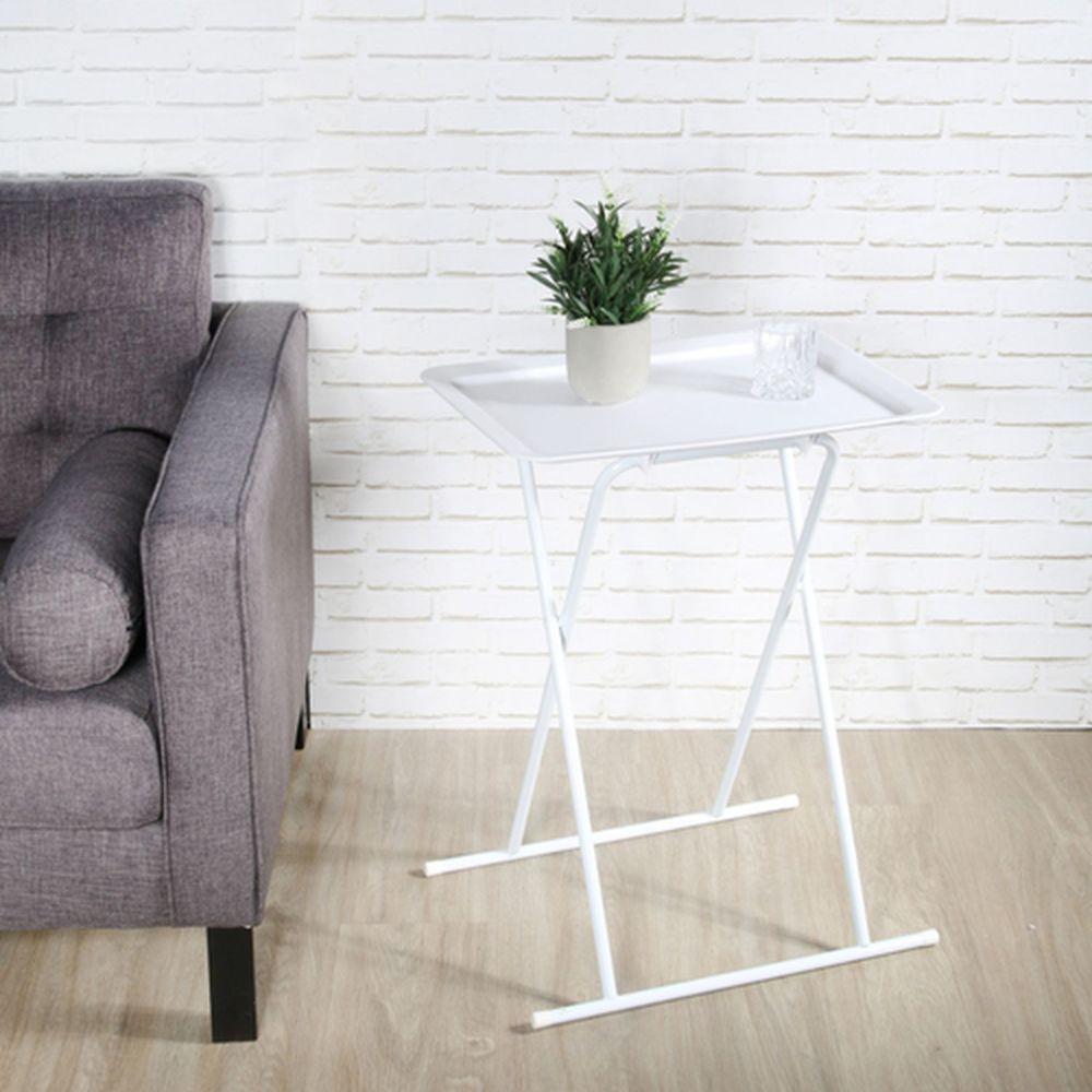 The Home Deco Factory Table d'appoint pliable design Zoé - L. 53 x H. 66 cm - Blanc