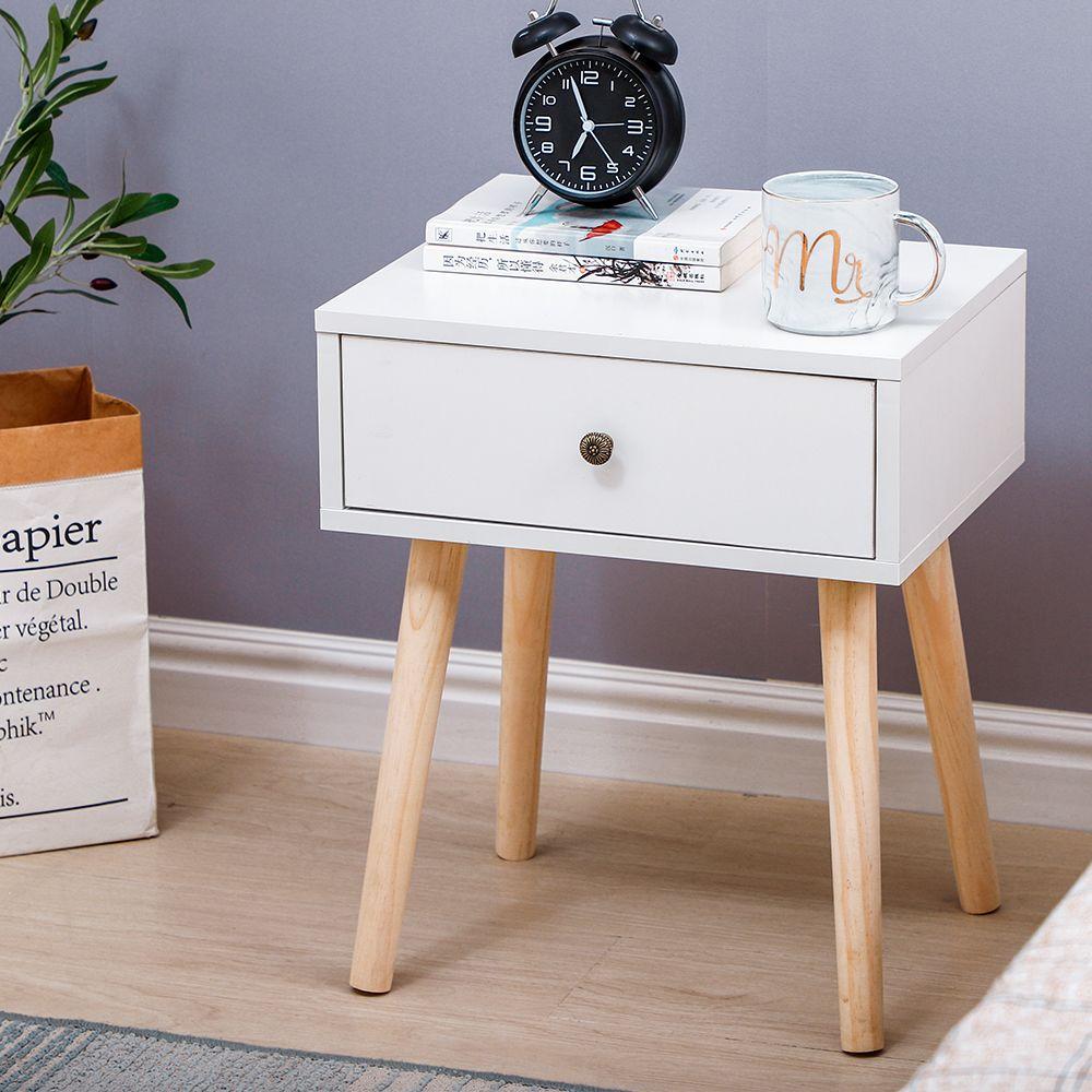 Jeobest Table de Chevet Avec 1 tiroirs - Style Nordique - Blanc