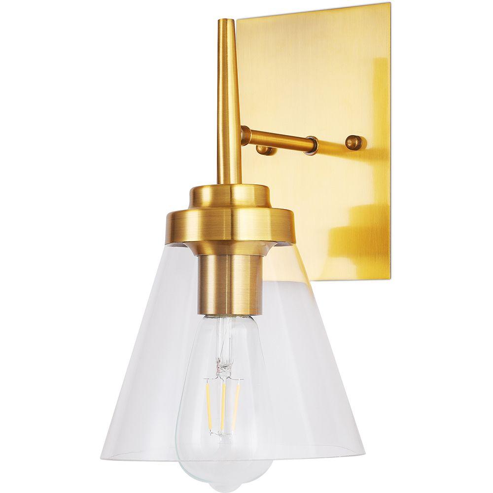 Privatefloor Lampe applique murale dorée design en verre métal