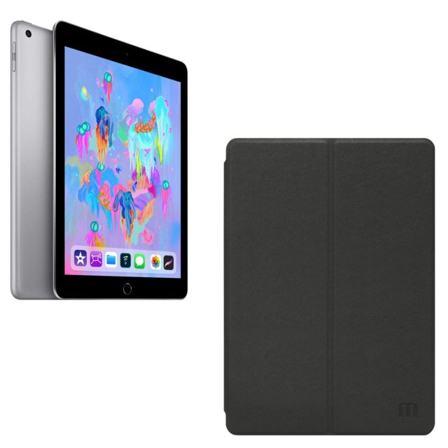 iPad Apple Ipad 2018 - 128 Go - WiFi + Cellular - MR722NF/A - Gris Sidéral + Etui pour  iPad 2018/2017/Air - Noir