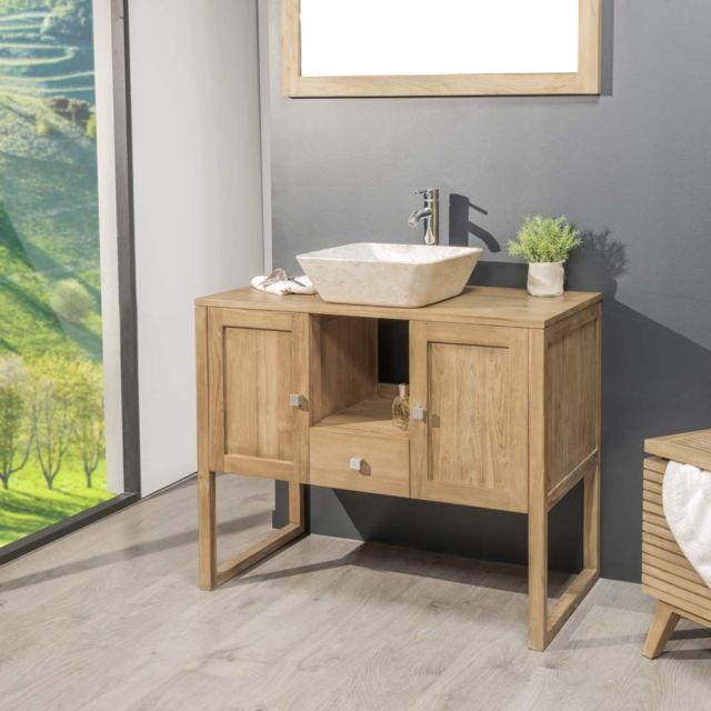 vidaXL Bois de Teck Massif Meuble-lavabo Salle de Bains Mobilier de Toilette