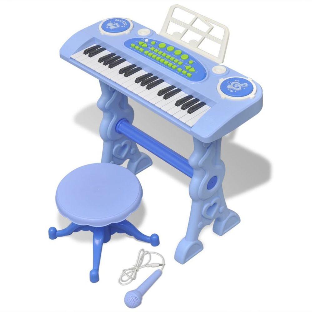 Vidaxl Piano avec 37 touches et tabouret/microphone jouet pour enfants Bleu | Bleu