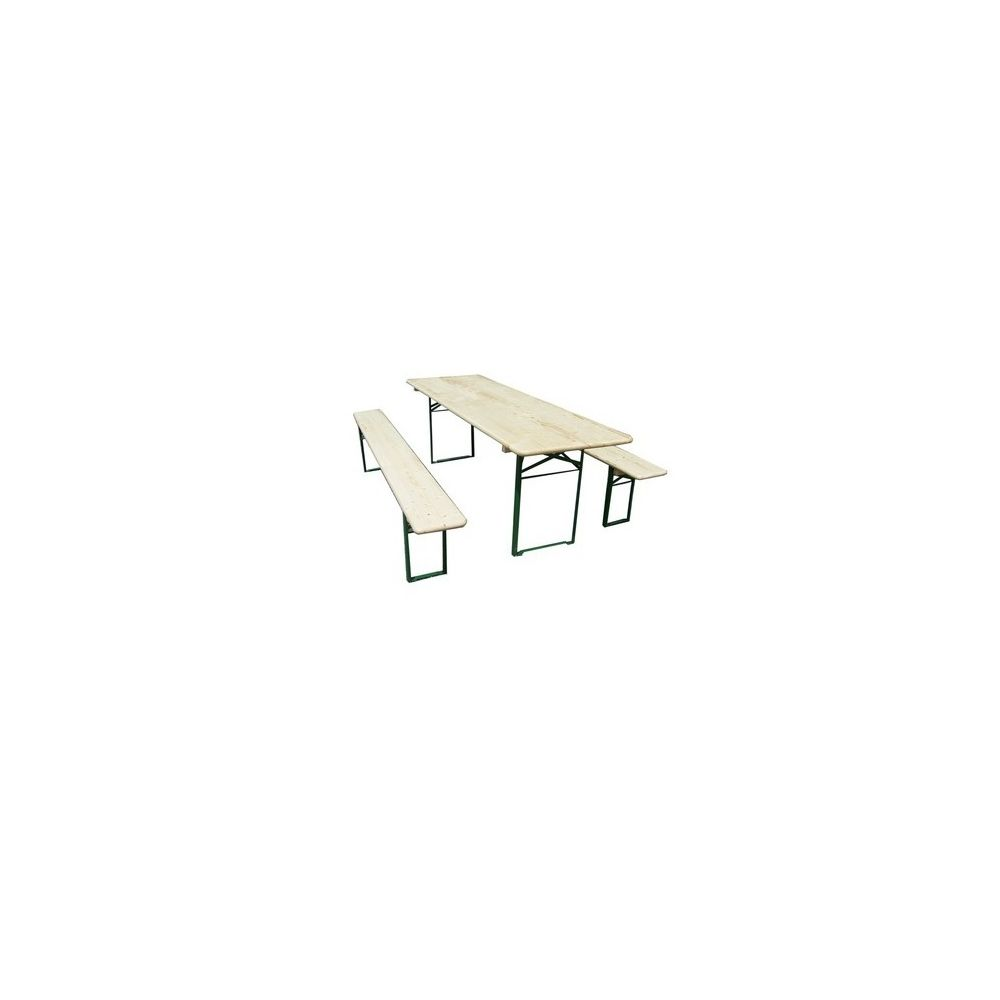 Habrita Set brasserie COLMAR comprenant 1 table 220 x 70 cm + 2 bancs 8 personnes