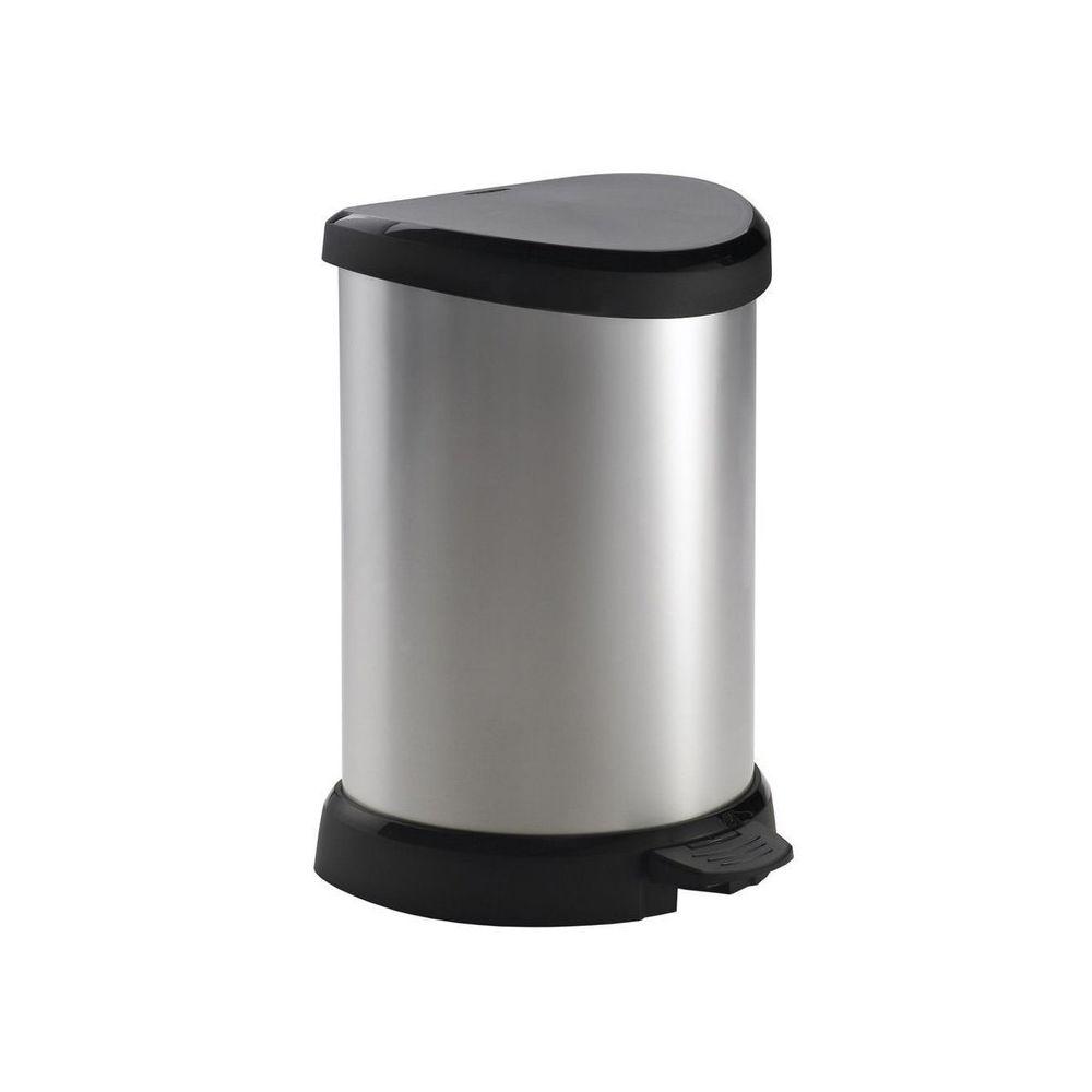 Curver Poubelle de cuisine à pédale 20 Litres aspect métal ronde Bliss - Argenté