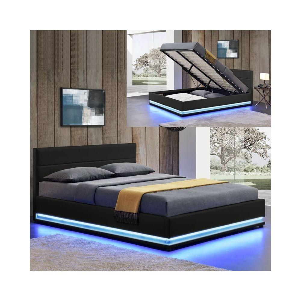 Meubler Design Lit led avec coffre de rangement AVA - Noir - 160x200