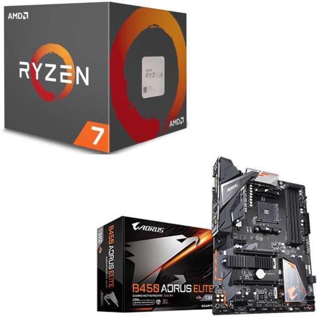 Amd - Ryzen 7 2700X Wraith Prism Edition - 3,7/4,3 GHz + AMD B450 AORUS ELITE - ATX - Kit d'évolution