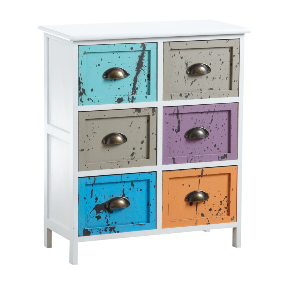 Aubry Gaspard Commode 6 tiroirs multicolores