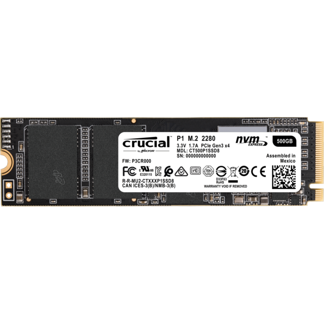 Crucial - P1 500 Go M.2 NVMe PCIe Gen 3 x2 Crucial   - SSD Interne Ssd interne