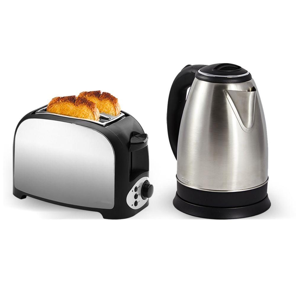 Pem Set petit déjeuner - Grille pain 2 fentes finition inox + Bouilloire en inox - 1500W 1.8L