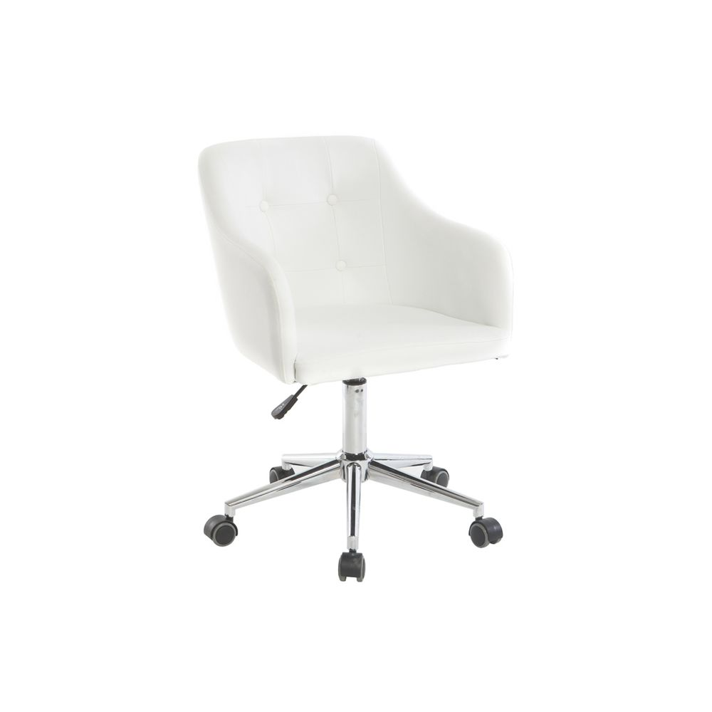 Miliboo Fauteuil de bureau design PU blanc BALTIK