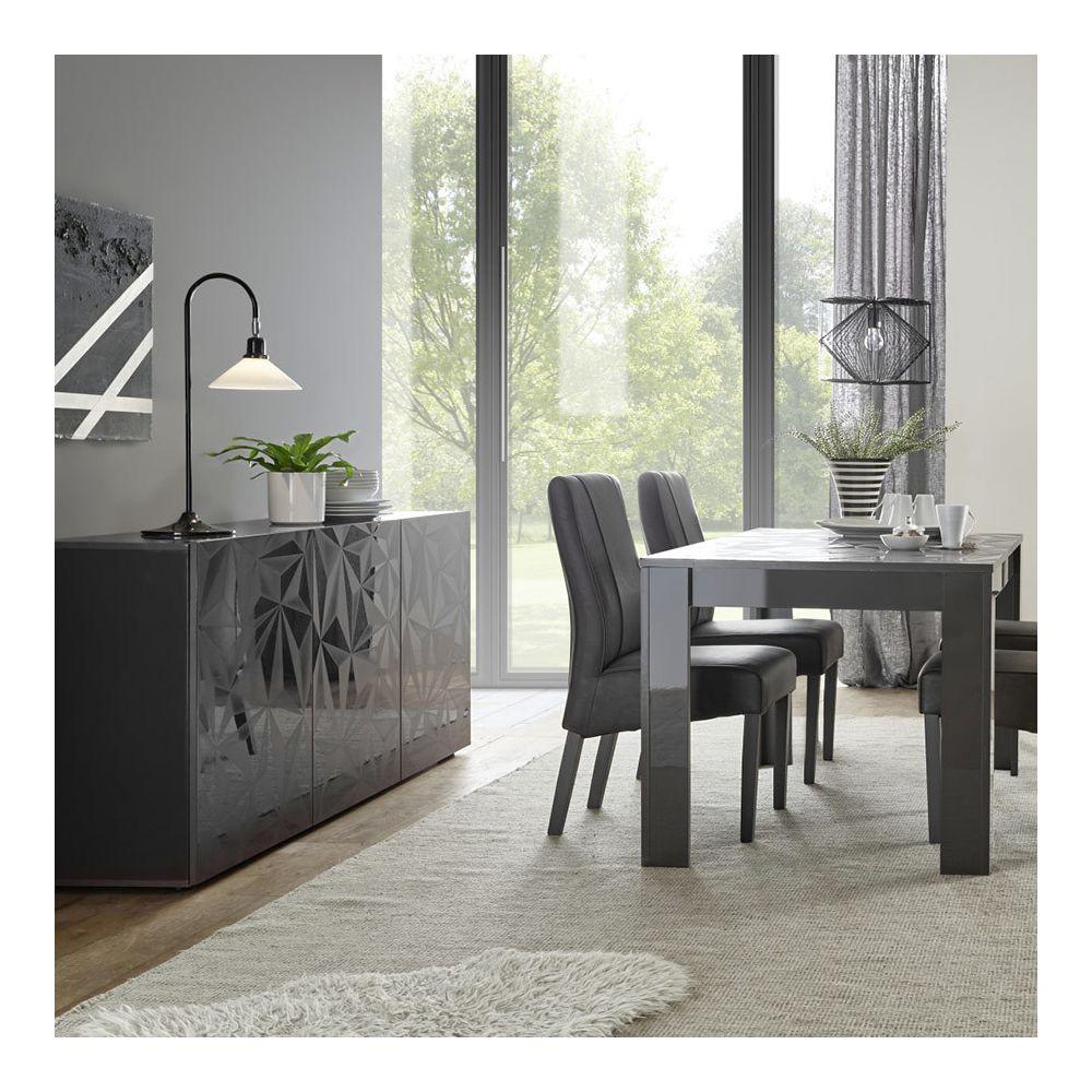 Kasalinea Salle à manger gris laqué buffet 3 portes + table 180 design NINO 2