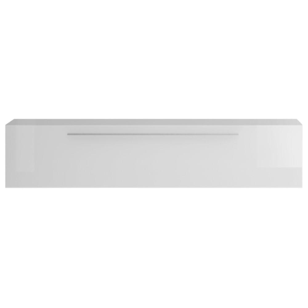 Miliboo Élément mural TV horizontal laqué blanc brillant avec baguette ETERNEL