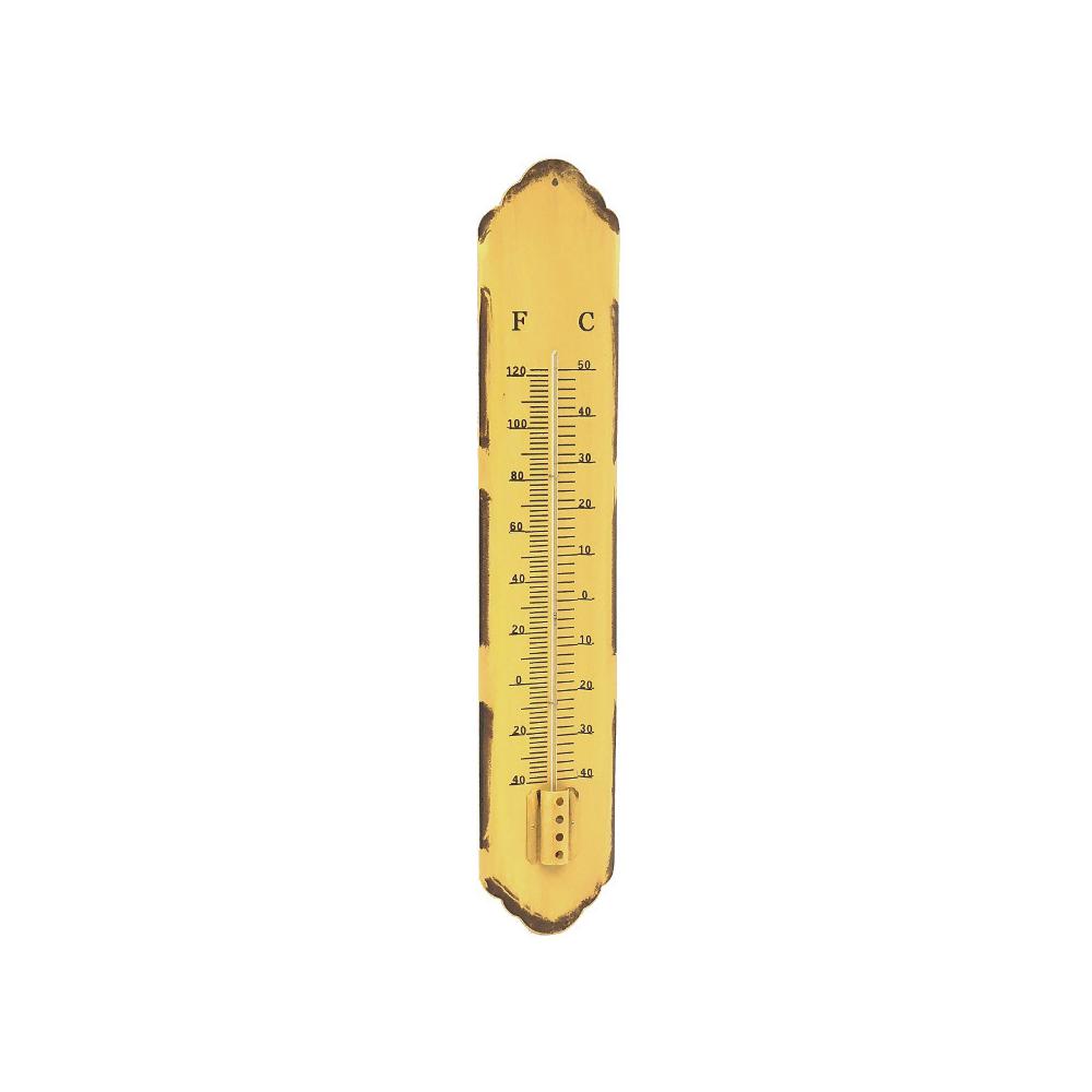L'Originale Deco Grand Thermomètre Murale de Jardin en Métal Jaune 61 cm