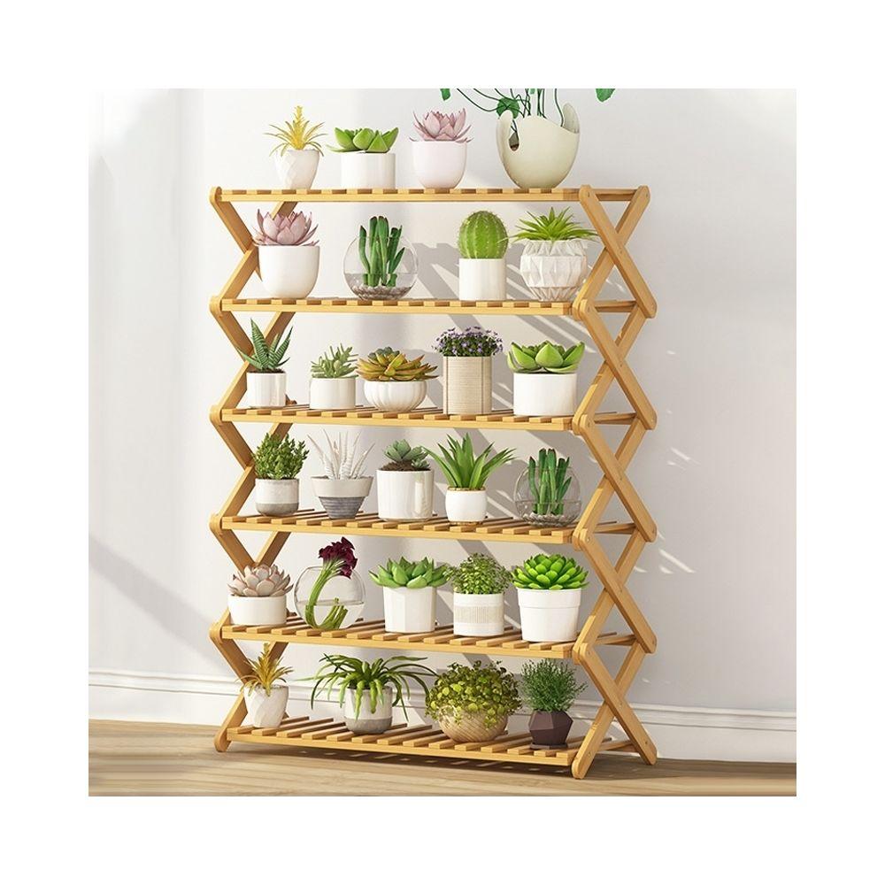 Wewoo 6 couches de balcon salon pliable support de fleurs en bois massif étagères de plantation potlongueur 80 cm