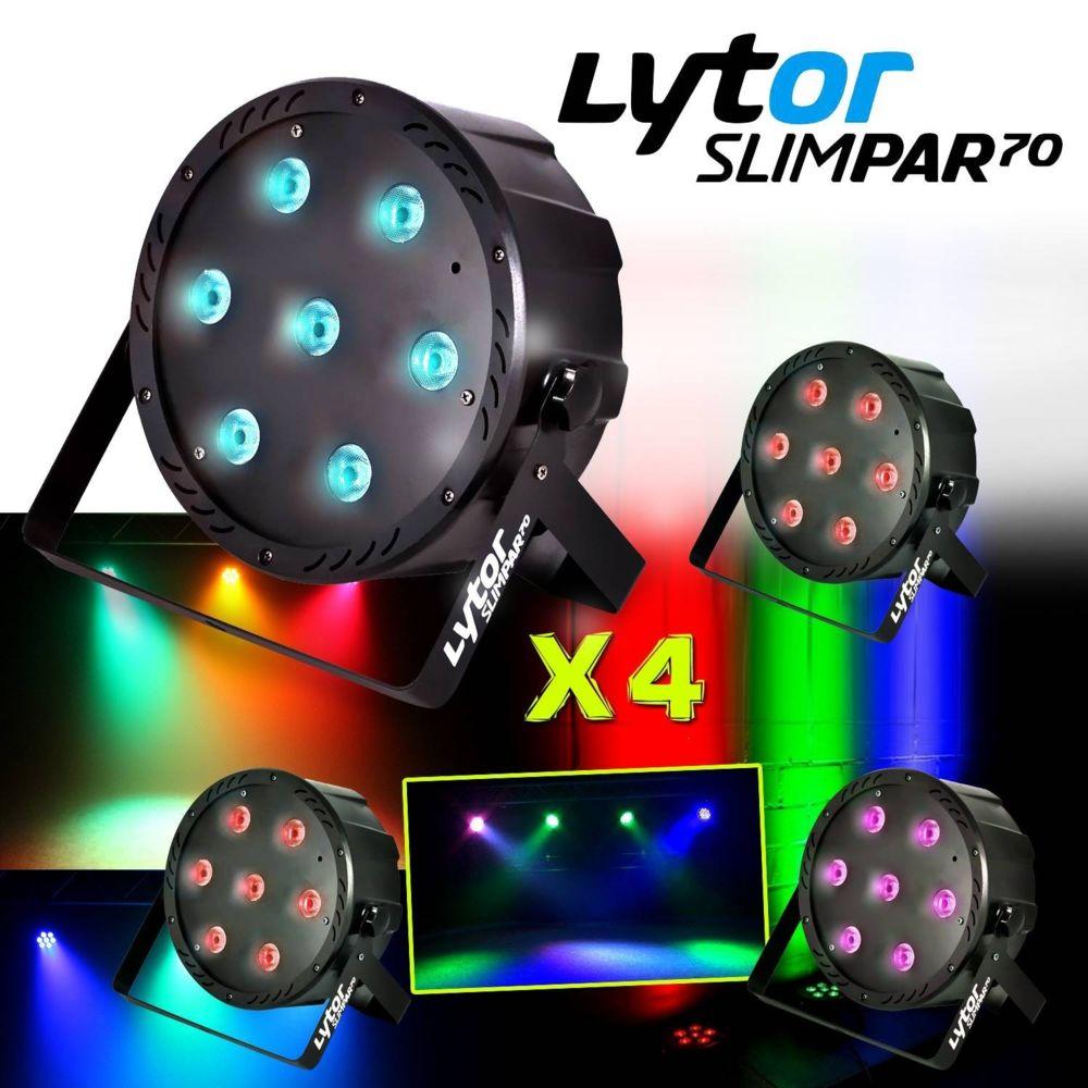 Lytor PACK 4 Projecteurs SLIMPAR70 ultra plat 7 LEDs (4en1) x 10W RVB/UV/DMX LytOr