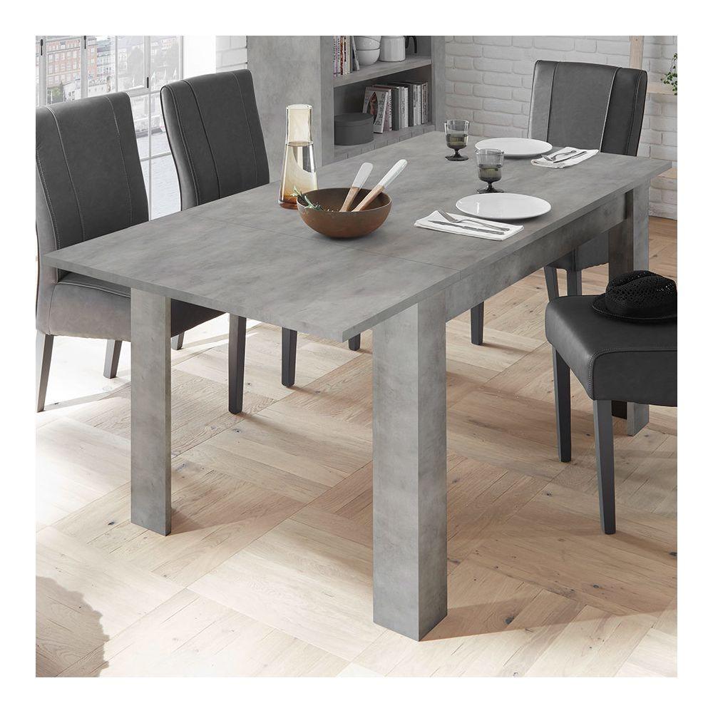 Sofamobili Table à manger extensible 140 cm grise design SERENA 2