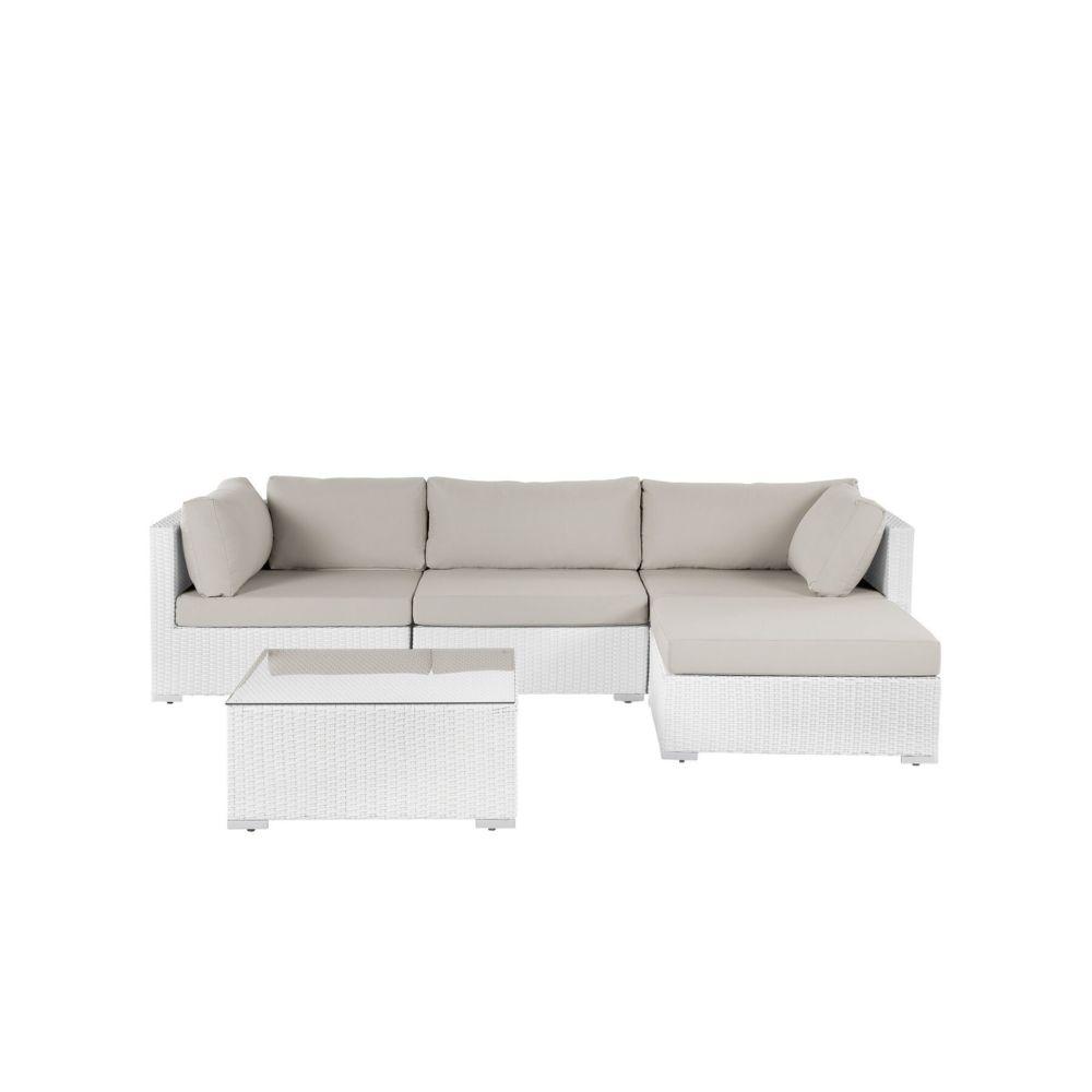 Beliani Beliani Salon de jardin en rotin blanc SANO II - blanc