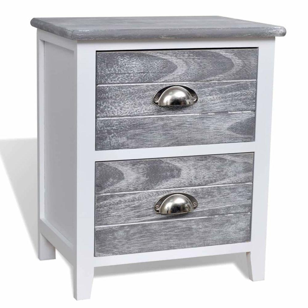Helloshop26 Table de nuit chevet commode armoire meuble chambre gris et blanc 38x28x45 cm bois de paulownia 1402041