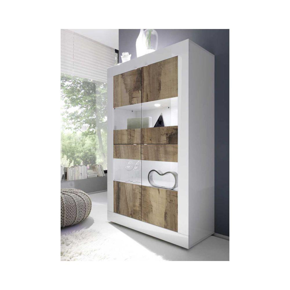 Tousmesmeubles Vitrine 4 portes Blanc/Planches bois à LEDS - MATERA