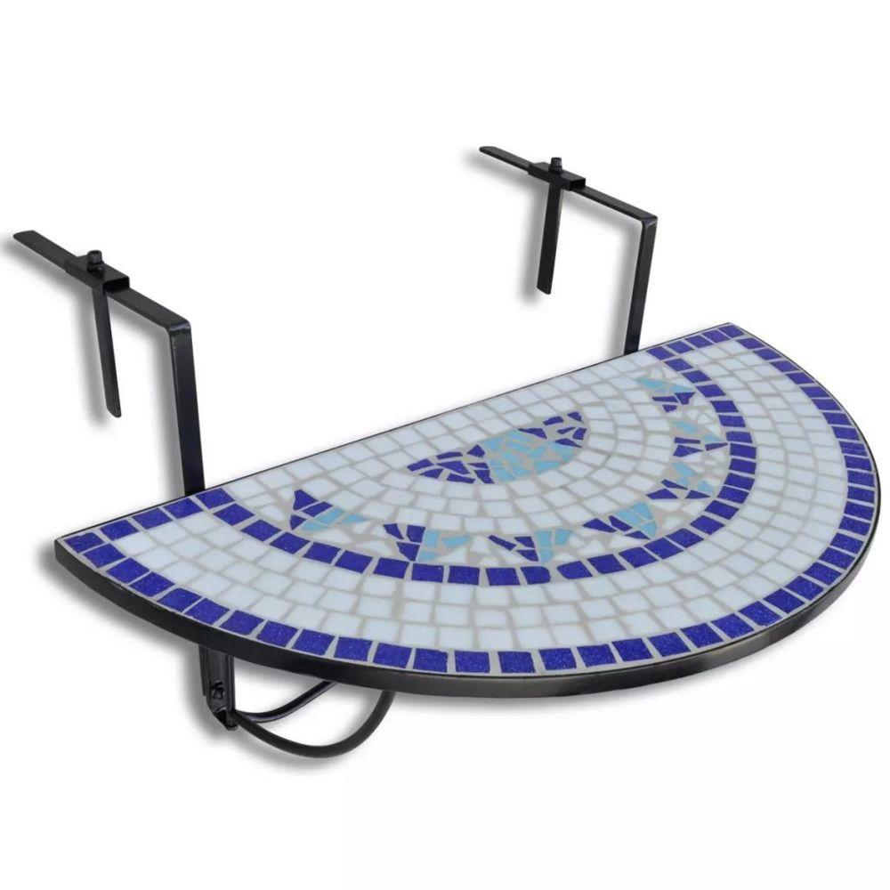 Vidaxl Table de balcon suspendue Demi-circulaire Bleu et Blanc | Multicolore