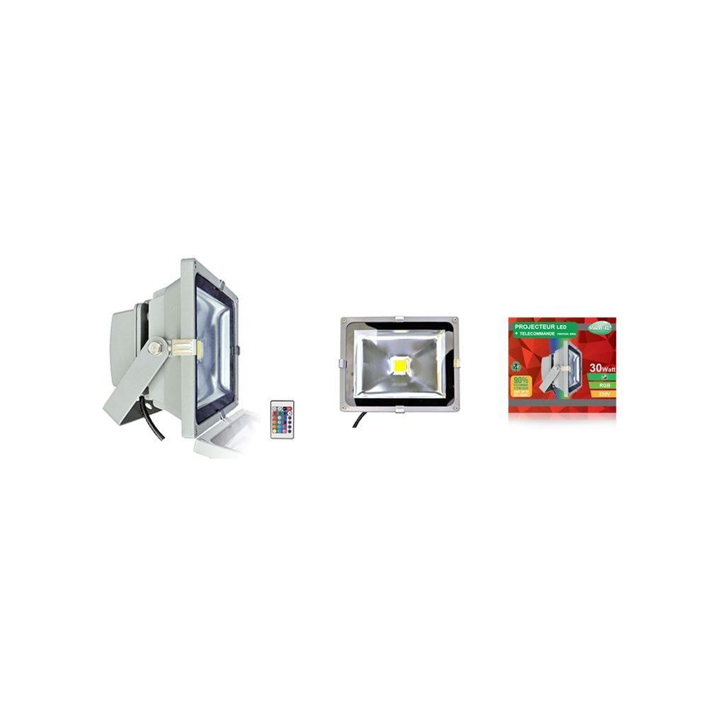 Vision-El projecteur extérieur à led - vision-el - 30w - rgb - gris - ip65 - télécommande