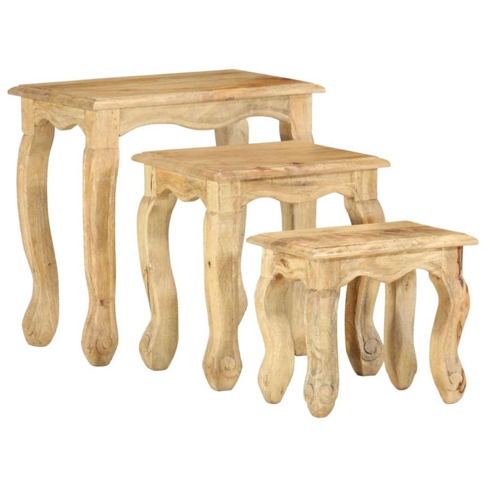 Uco UCO Ensemble de tables gigognes 3 pcs Bois massif de manguier