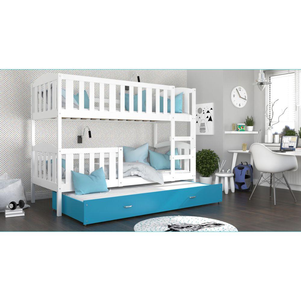 Kids Literie Lit superpose 3 places Téo 90x190 blanc bleu livré avec tiroir,3 sommiers et 3 matelas en mousse de 7cm offerts