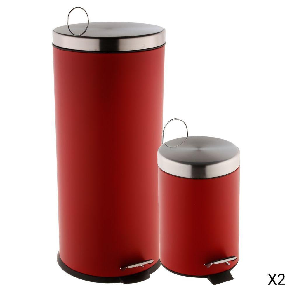 Atmosphera, Createur D'Interie 2 Poubelles à pédale - 30 L et 3 L - Rouge