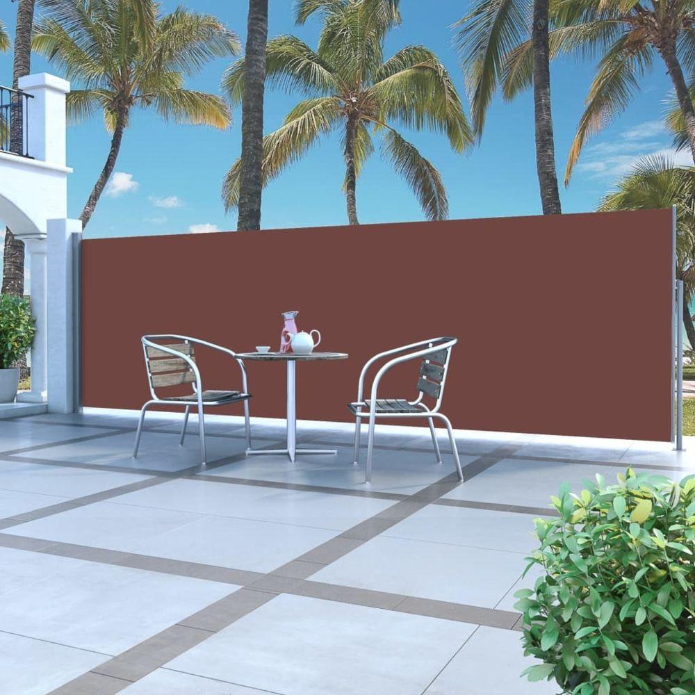 Vidaxl Auvent latéral rétractable 160 x 500 cm Marron | Brun - Pelouses et jardins - Vie en extérieur - Parasols et voiles d'om