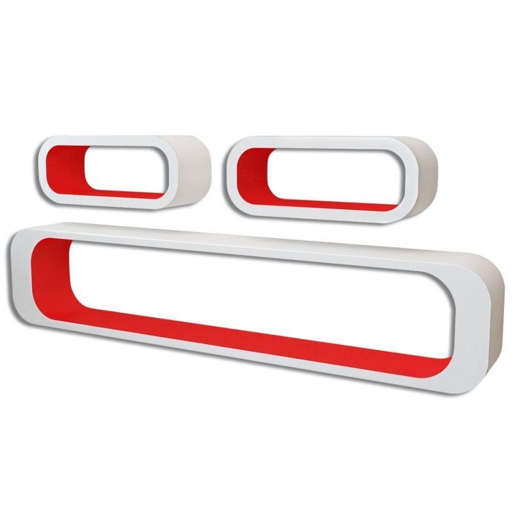 Helloshop26 Étagère armoire meuble design 3 cubes suspendues mdf stockage dvd blanc/rouge rectangulaire 2702088/2