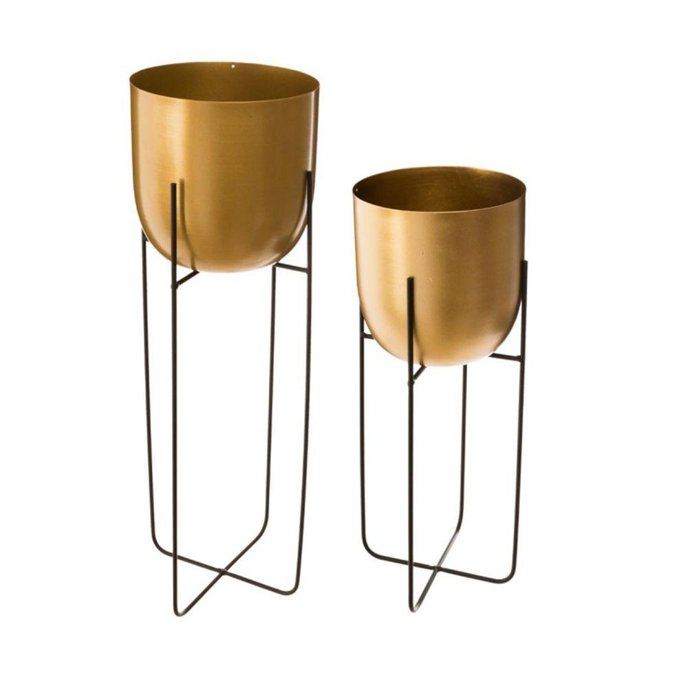 Pegane Lot de 2 pots ronds en métal doré / noir -PEGANE-