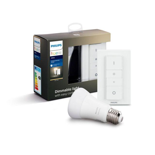 Philips Hue - White - Ampoule 9.5W E27 x1 + Télécommande DIM kit