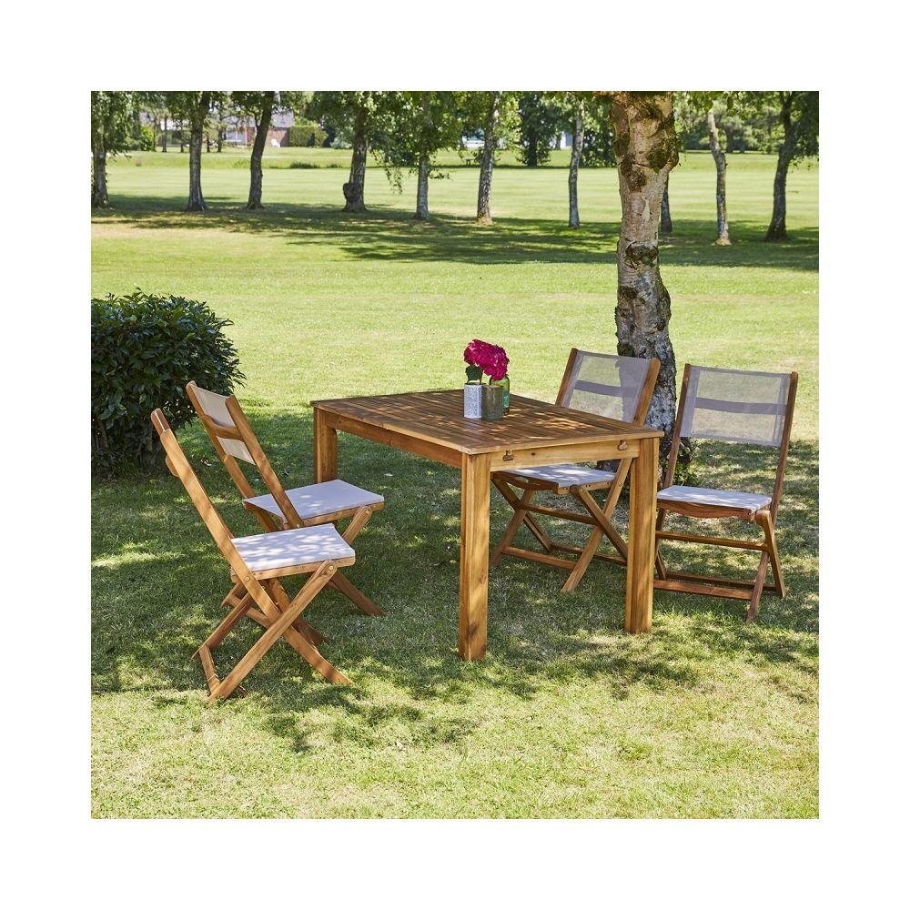 Bois Dessus Bois Dessous Salon de jardin en bois d'acacia FSC extensible 4 à 8 places