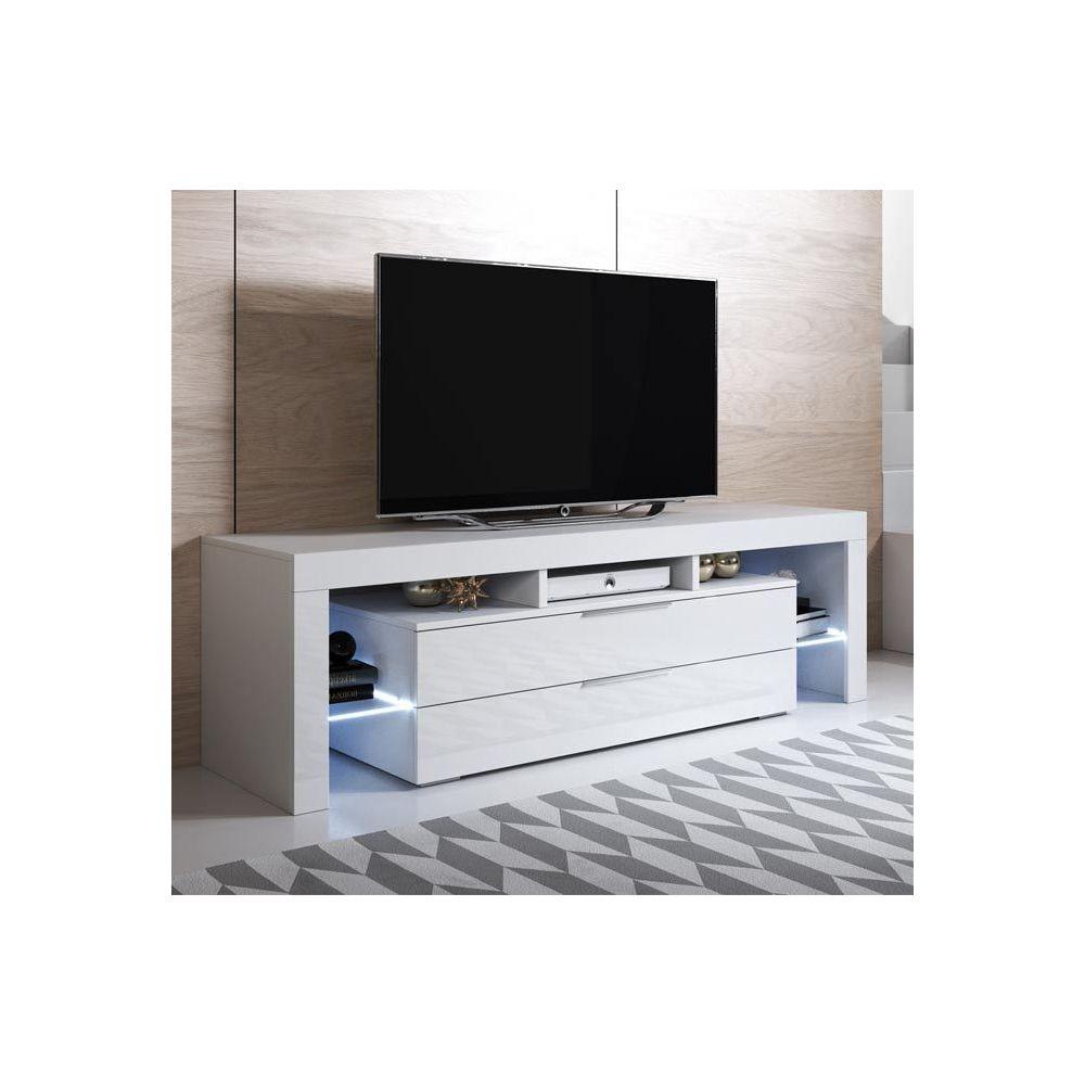 Design Ameublement Meuble TV modèle Selma (160x53cm) couleur blanc avec LED RGB