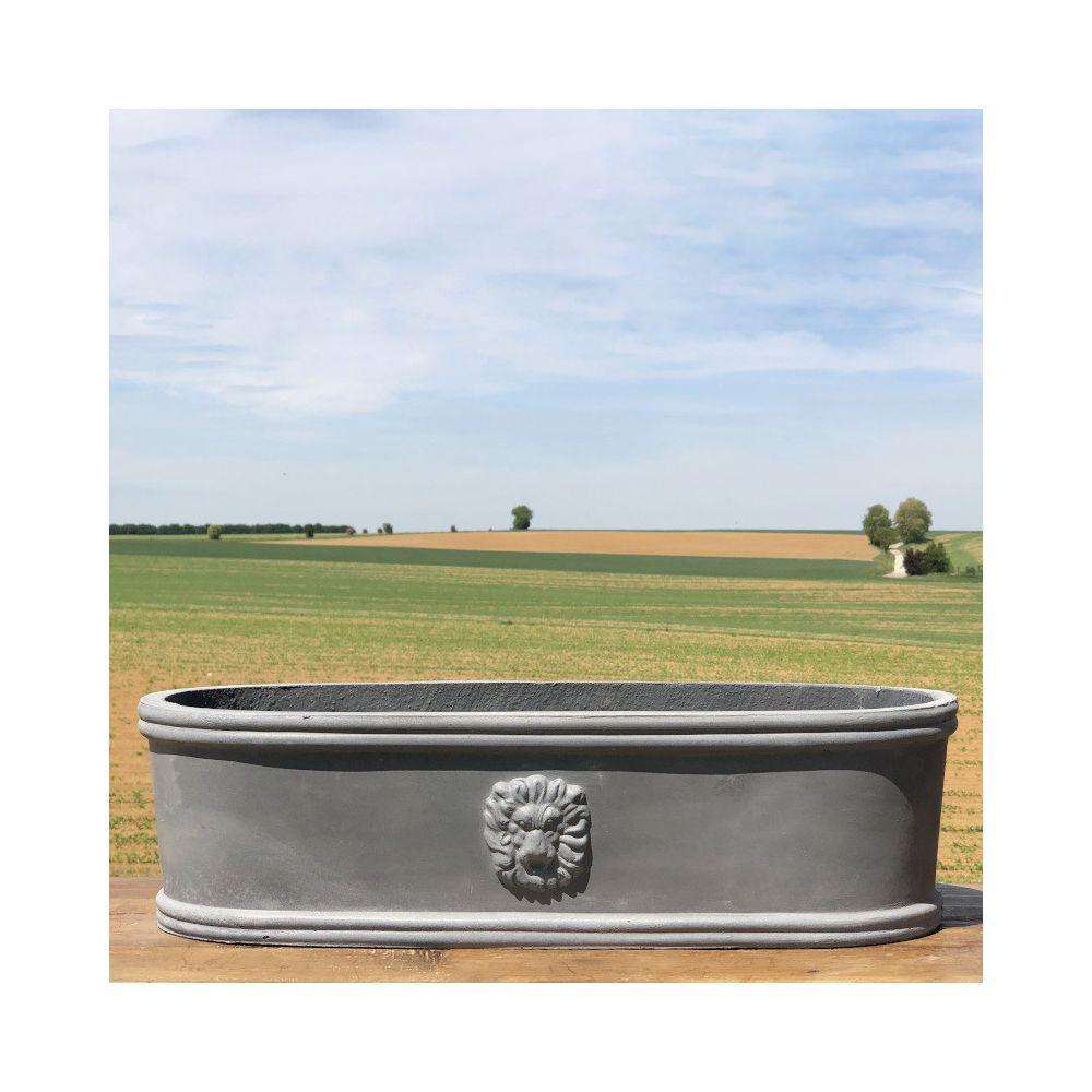 L'Originale Deco Jardinière Pot Vasque Médicis Fenêtre Jardiniere Balcon Tête Lion Gris Fonte Gris Plomb 38 cm x 14 cm