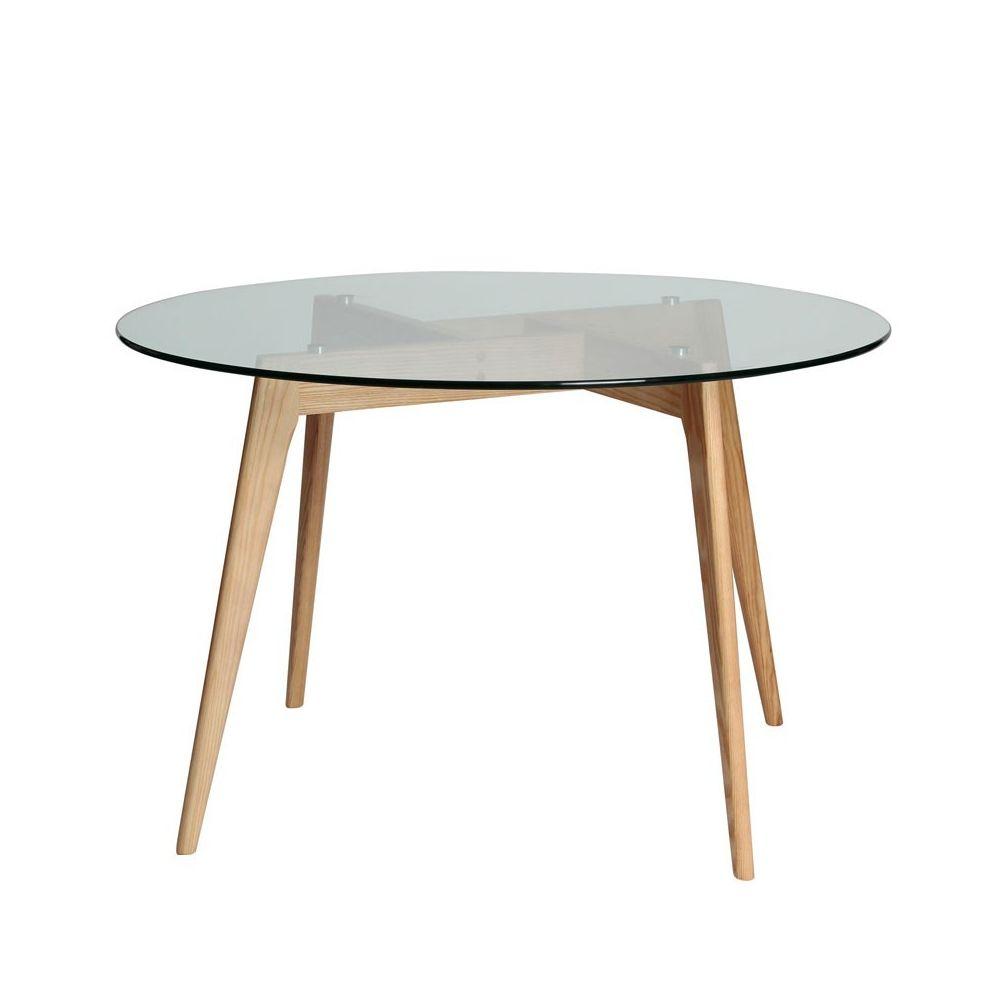 Tousmesmeubles Table de repas Ronde Verre/Frêne - SAMBA