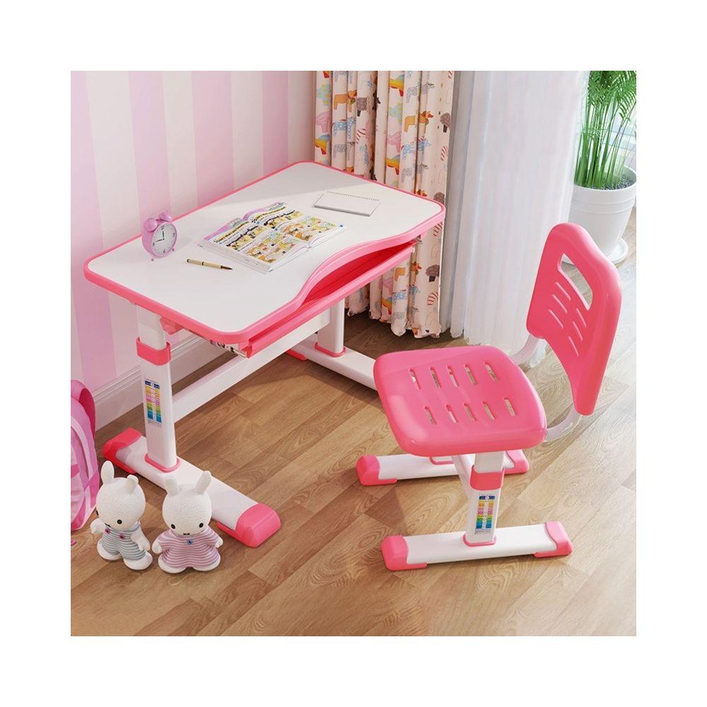 Wewoo Table d'étude et chaise en plastique pour enfants à levage multifonctionnel rose